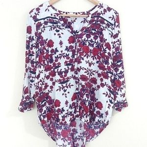 Lucky brand red flowered button-up hi-lo shirt